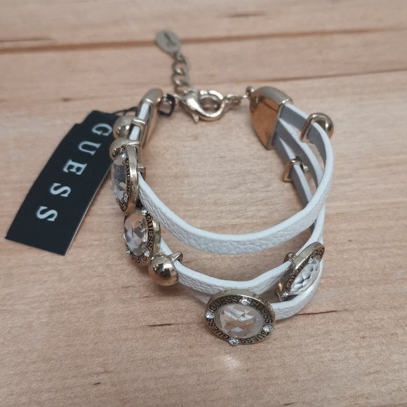 Guess white leather bracelet